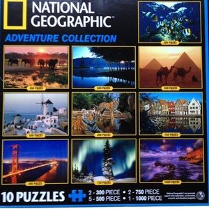NWT 10 National Geographic Puzzles Adventure Set